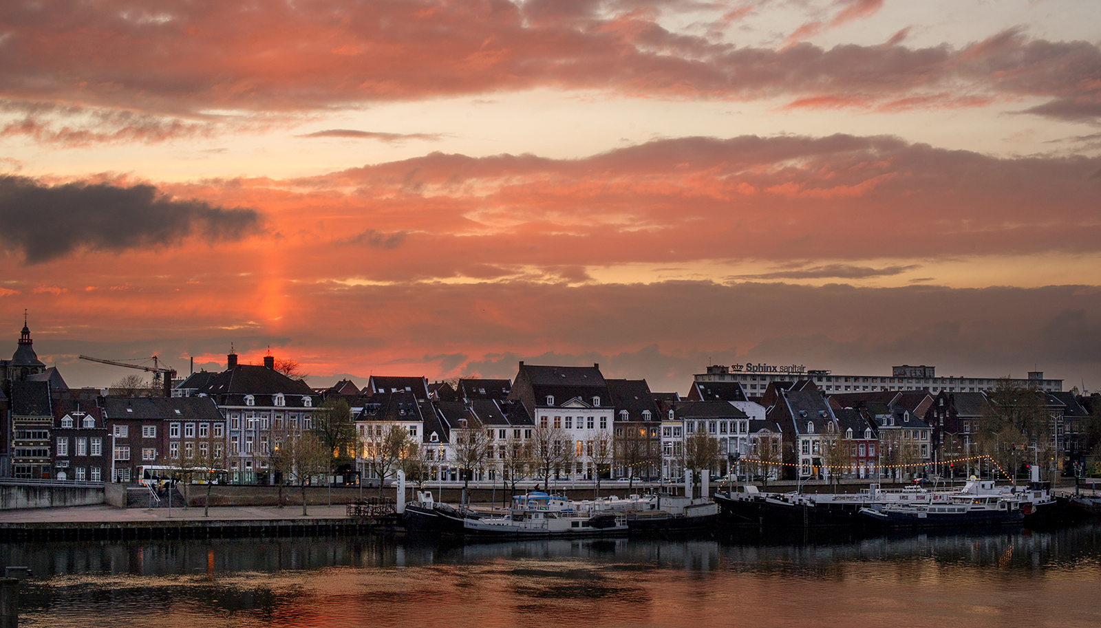 Maastricht skyline at the Maas river