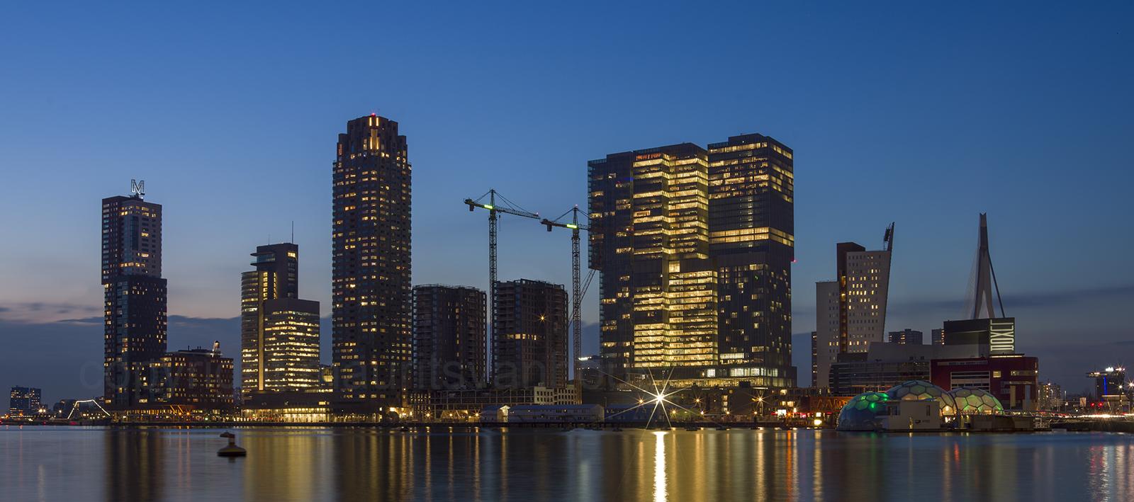 Rotterdam, skyline met sunset